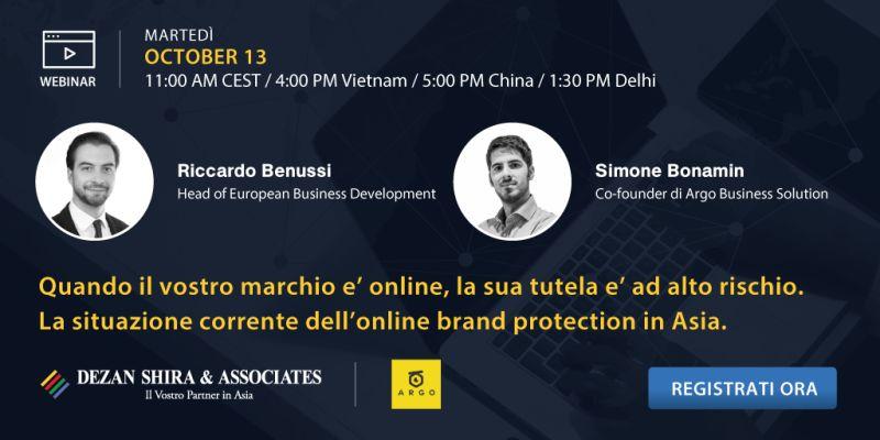 Webinar: Quando il vostro marchio è online, la sua tutela è ad alto rischio. La situazione corrente dell'online brand protection in Asia.